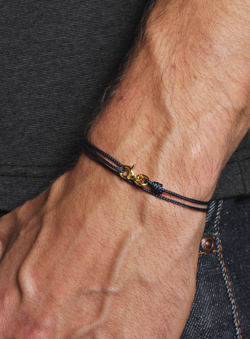 Navy Micro Cord Men's Bracelet with Gold Clasp