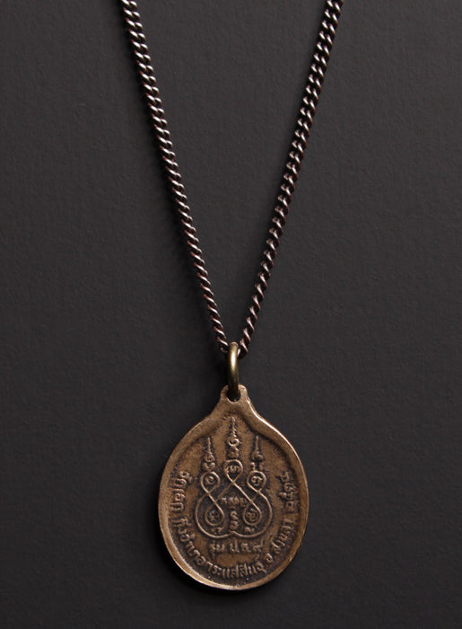 Bronze and Sterling Oval Buddha Men's Necklace