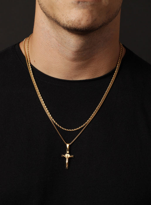 Necklace Set: Gold Rope Chain and Gold Crucifix Necklace