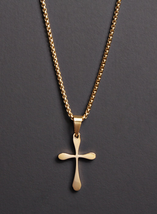 Stainless Steel Gold Plated Cross Necklace for Men