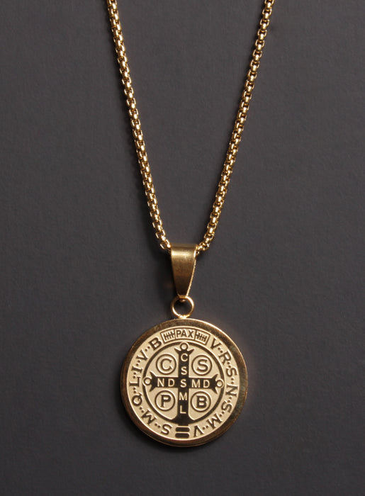 Gold Plated St. Benedict Medal Men's Necklace (LARGE)