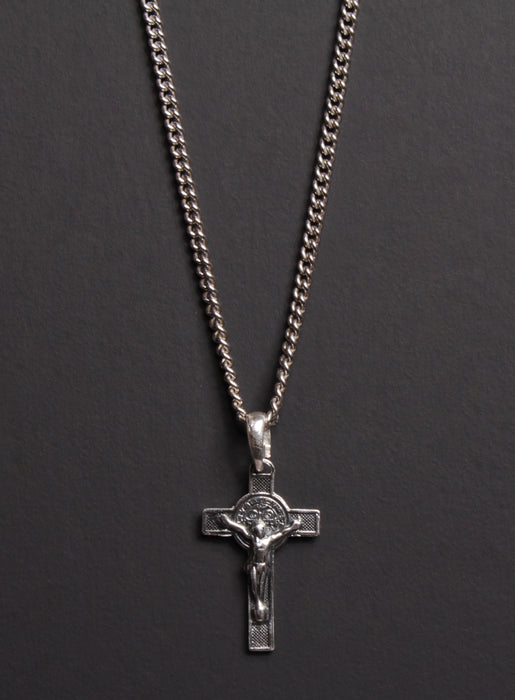 Small Crucifix and St. Benedict Sterling Silver Men's Necklace