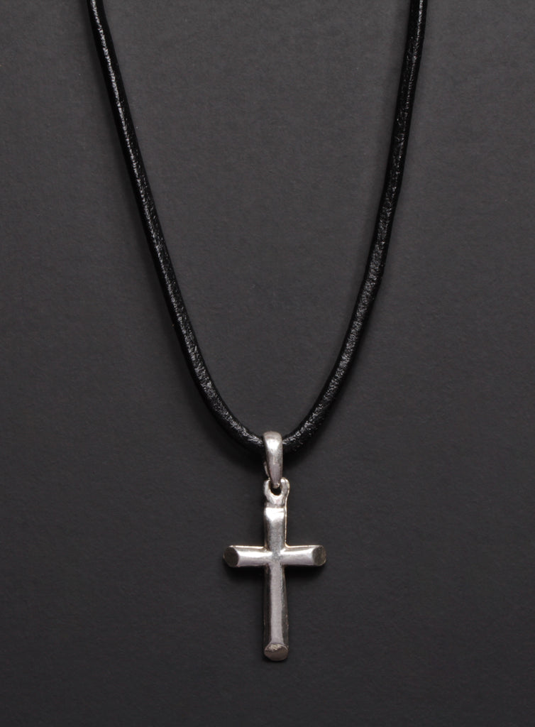 Sterling Silver Cross Black Men's Leather Necklace