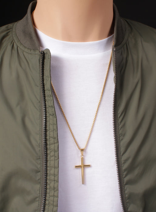 "Large Gold Plated Stainless Steel ""Bamboo"" Cross Men's Necklace"