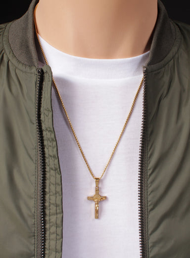Small Gold Crucifix Men's Necklace No. 2