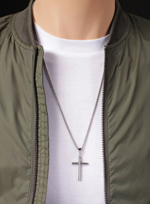 "Large Stainless Steel ""Bamboo"" Cross Men's Necklace"