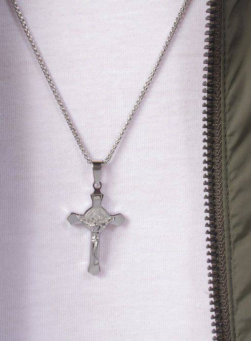 Small Stainless Steel Crucifix Men's Necklace
