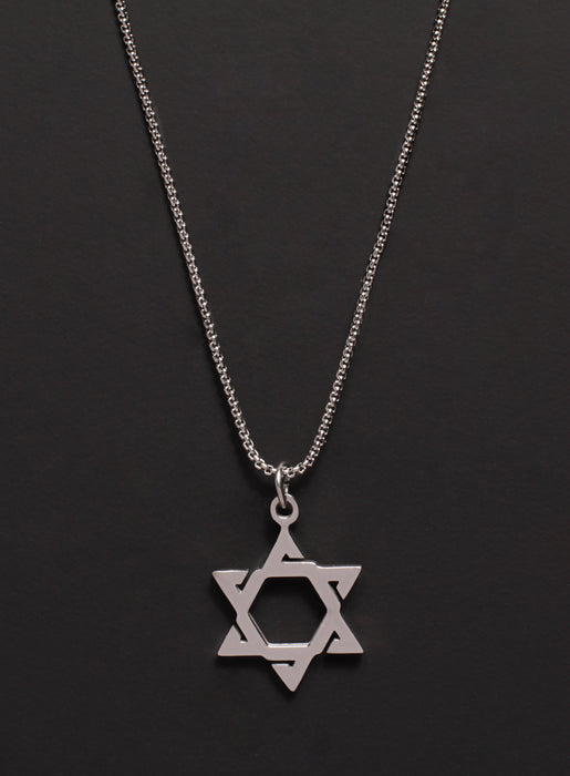 Stainless Steel Star of David Necklace for Men