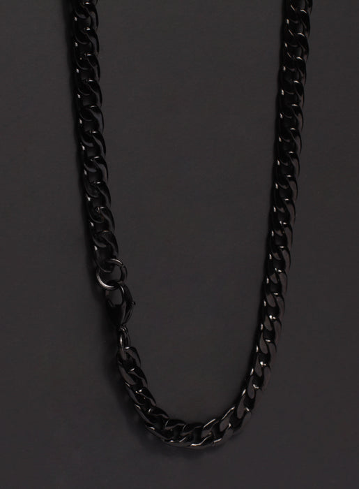 7mm Black Curb Chain Necklace for Men