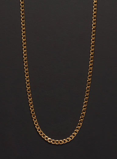 3mm Gold Curb Chain Necklace for Men