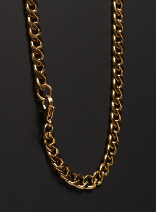 7mm Gold Curb Chain Necklace for Men