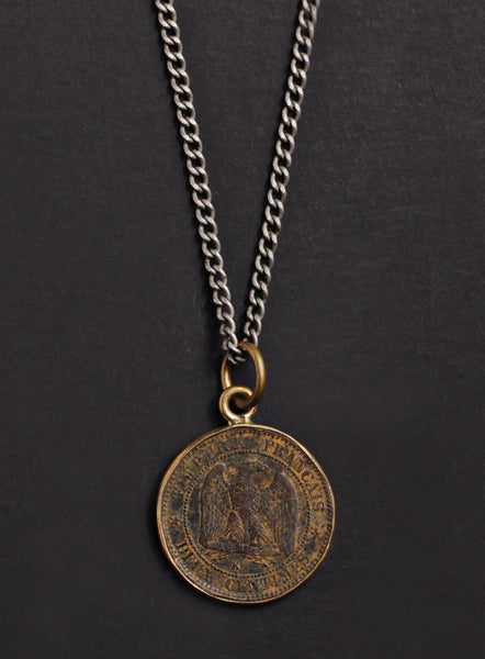 Vintage 1855 French coin necklace