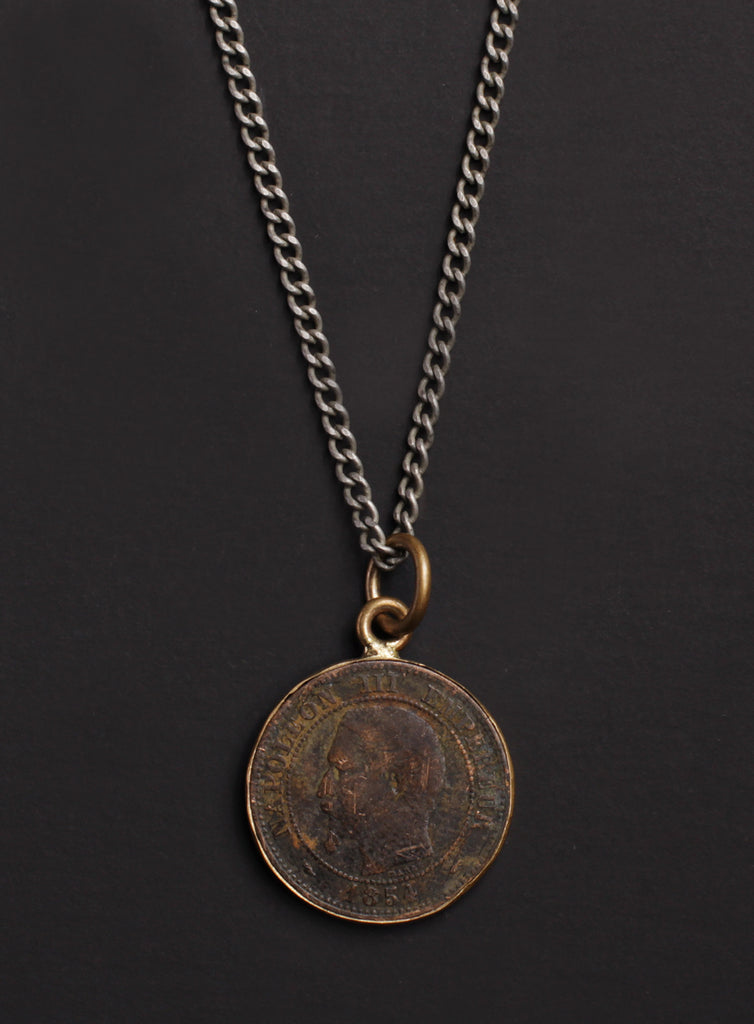 Vintage 1854 French coin necklace