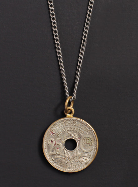 Vintage 1939 french coin necklace