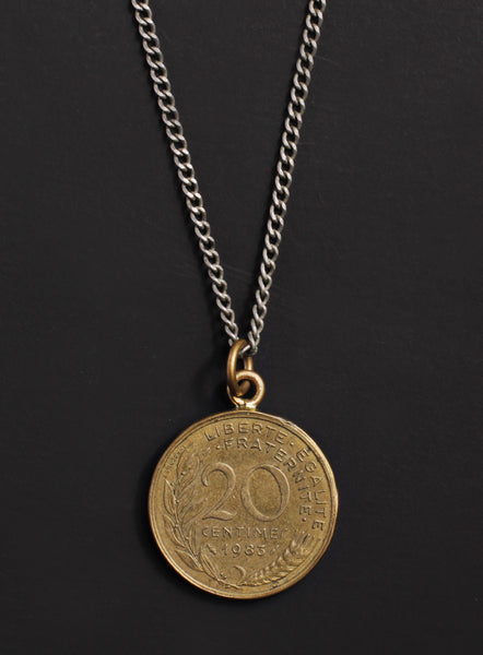 Vintage 1983 French coin necklace