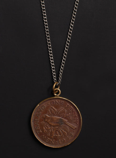 Vintage 1945 New Zealand coin necklace