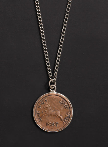 Vintage 1953 India coin necklace