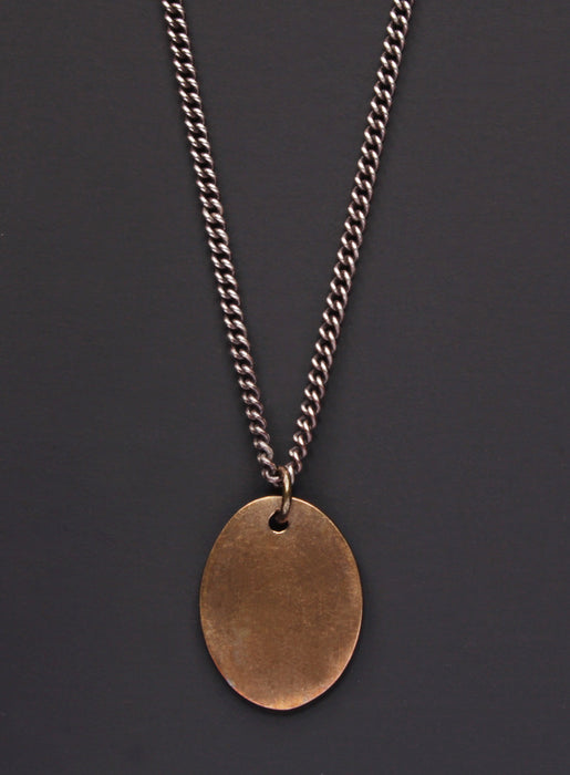 Bronze oval tag & Oxidized sterling silver men's curb chain necklace