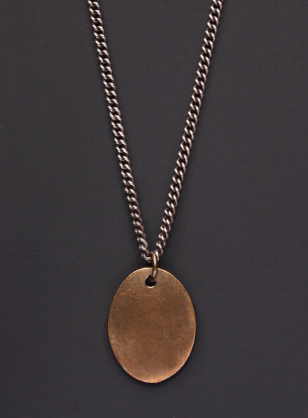 a2f8eea15 Bronze oval tag & Oxidized sterling silver men's curb chain necklace
