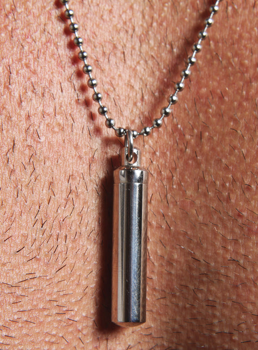 Stainless Steel Vial Necklace for Men