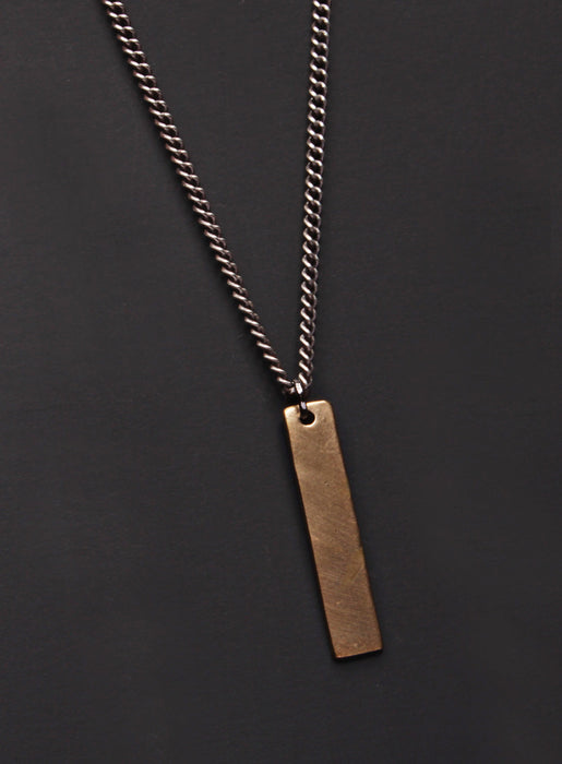 Bronze tag & Oxidized sterling silver men's curb chain necklace