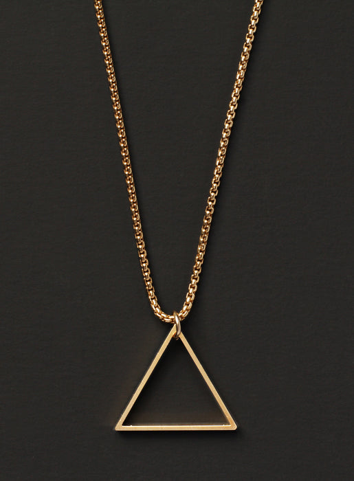Gold Box Chain + Triangle Necklace for Men