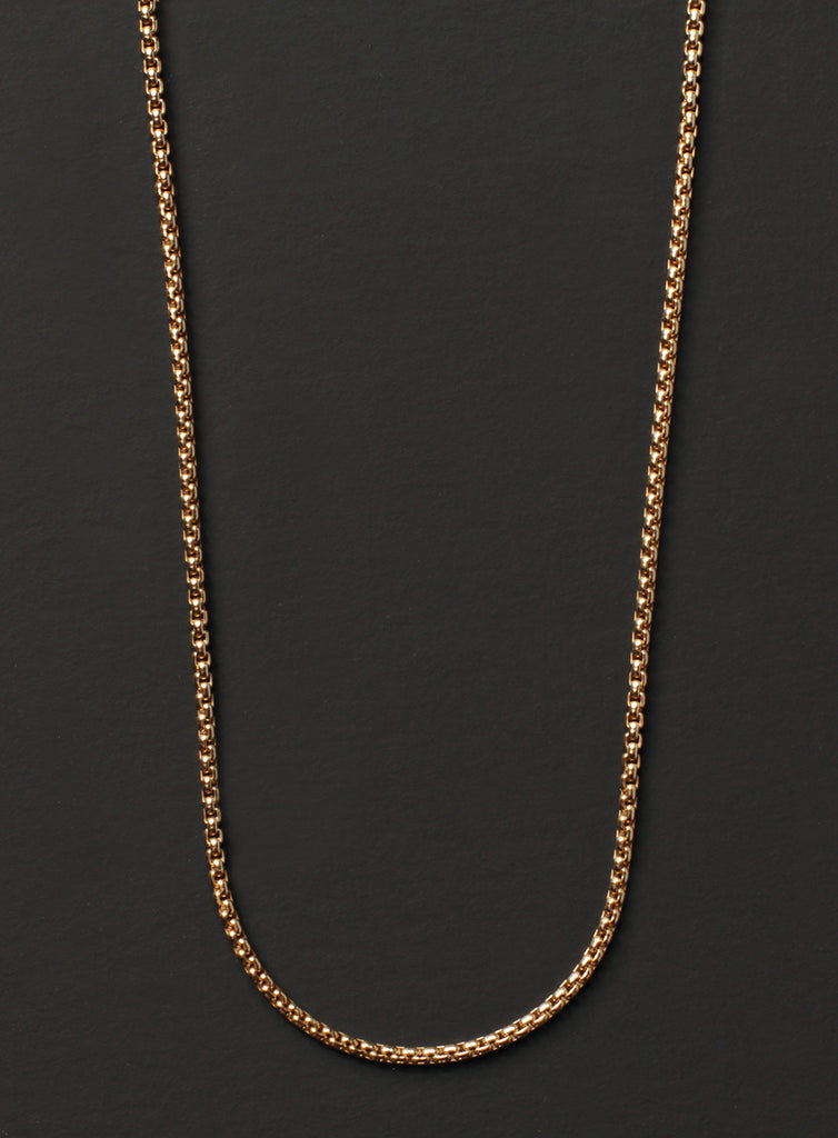 Gold Box Chain Necklace for Men