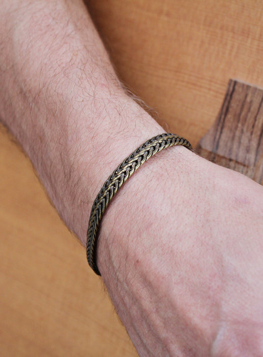 """Weaved"" Brass Chain Bracelet for Men"