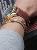 Infinity Bracelet - Brown cord men's bracelet with gold clasp