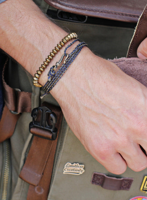 Brown + Navy Braided Rope Men's Bracelet