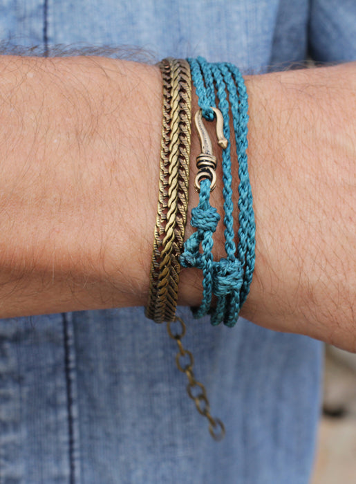 Dark Teal Braided Rope Men's Bracelet
