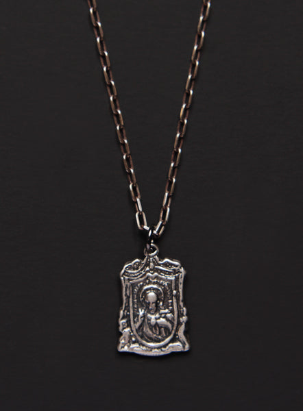 Sacred Heart of Jesus / Virgin Mary Silver Necklace for Men