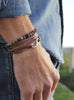 """Captain"" Brown + Silver Leather Bracelet for Men"