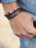 """Chief"" Olive Drab + Gunmetal Leather Bracelet"