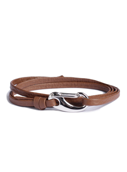 """Captain"" Brown + Silver Leather Bracelet"