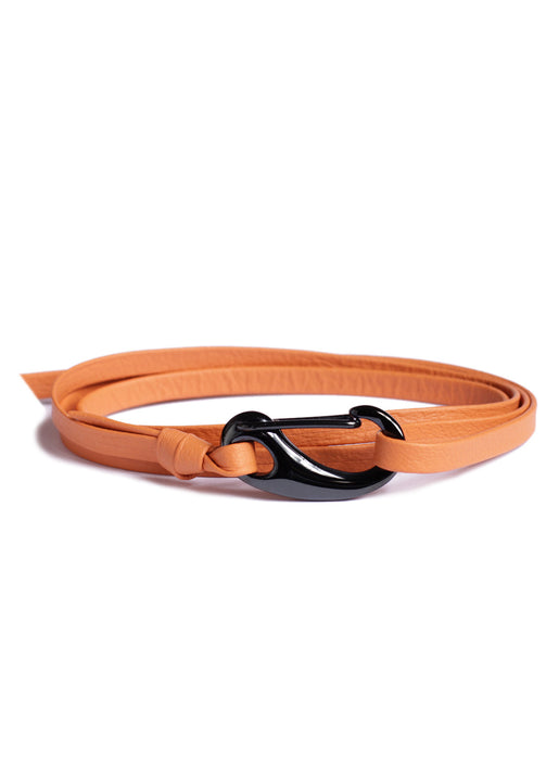 """Wheelhouse"" Orange + Gunmetal Leather Bracelet"