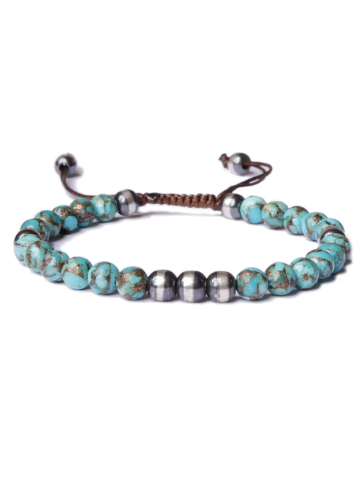 Sterling Silver and Turquoise Bead Bracelet for men