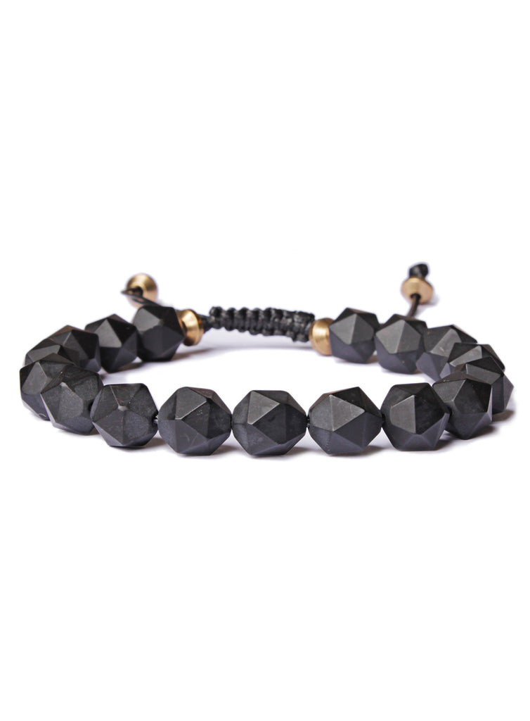 Geometric Black Onyx and Brass Bead Bracelet for men