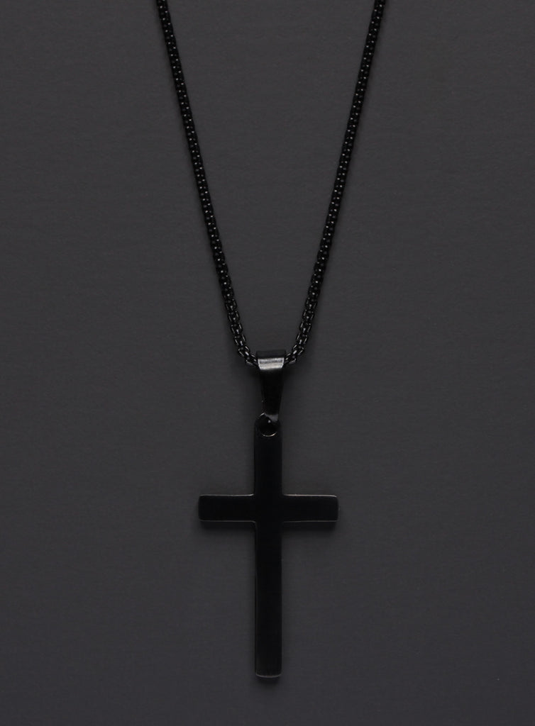 LARGE BLACK CROSS NECKLACE FOR MEN