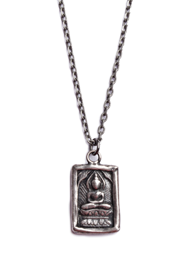 Silver buddha necklace for men we are all smith mens jewelry mens buddha necklace aloadofball Images