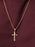 Gold Plated Cross Necklace for Men with Rope Chain