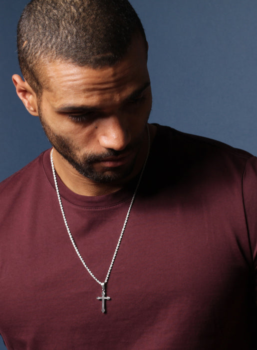 Cross Necklace for Men with Rope Chain
