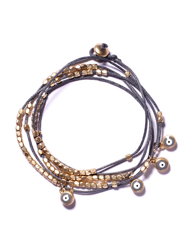 Wrap-around evil eye beads bracelet - Gray (SOLD OUT)