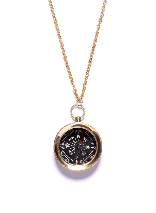 Small Gold Compass Necklace - Black dial back (SOLD OUT)