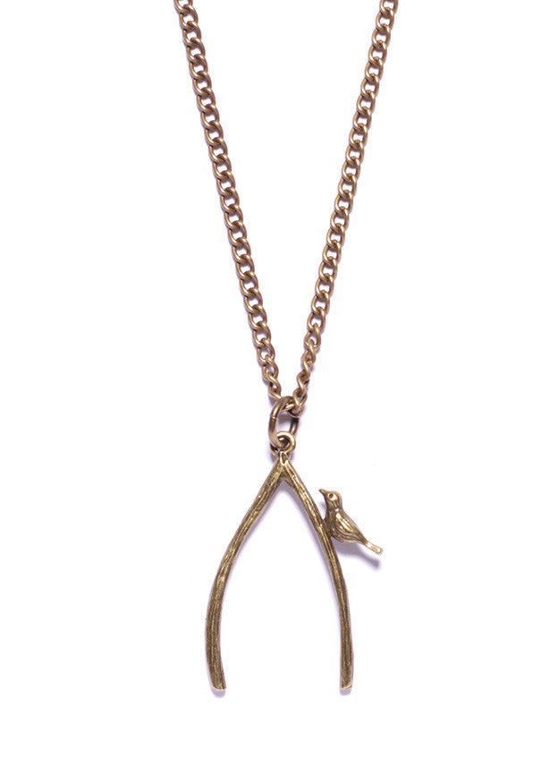 Wishbone and Bird Necklace