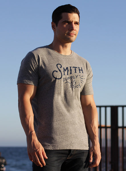 """Smith Supply & Stock"" short sleeve heather gray t-shirt"