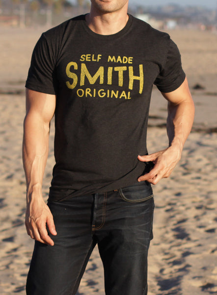 """Self-Made SMITH"" short sleeve vintage black t-shirt"