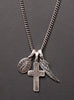 """Unharmed"" Wing + Cross + Miraculous Medal Necklace for Men"