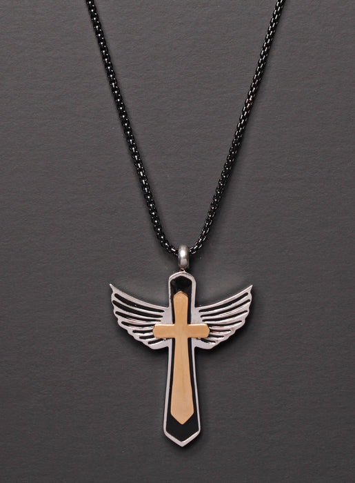 Stainless Steel Wings Cross Men's Necklace