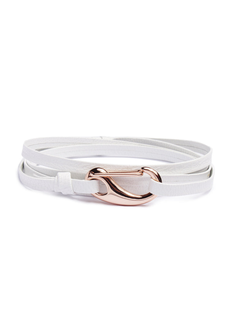 White + Rose Gold Leather Bracelet